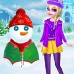 Princess Elsa And Snowman Dressup